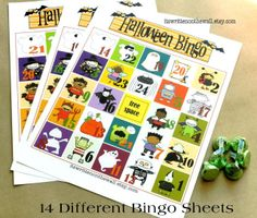 Our Halloween Bingo is such a fun game for Halloween parties at home  and especially at school!  Get 14 DIFFERENT Bingo Cards plus more