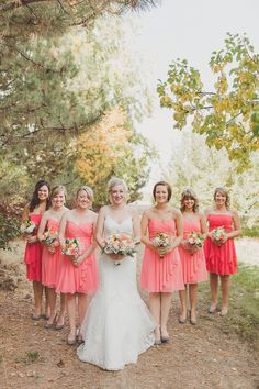 Peach/coral bridesmaid dresses... this is a pretty color melissaaa!