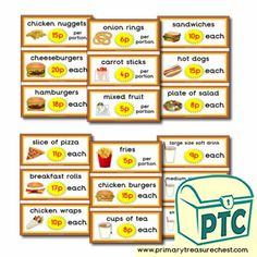 Fast Food Takeaway Role Play Resources - Primary Treasure Chest Teaching Activities, Teaching Ideas, Carrot Sticks, Mixed Fruit, Chicken Nuggets, Candy Shop, Role Play, Treasure Chest, Sweets