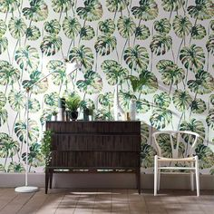 Kelapa wallpaper features cheese plant leaves on an allover bold plant motif. Available in 3 colourways. Buy it now or order a sample. FREE shipping! Available in Australia from www.silkinteriors.com.au    #wallpaper #wallpaperaccentwalls #wallpaperforwal
