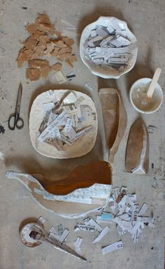 PAPER: Ann Wood - Paper Mache Ships: On cardboard armature, two layers: brown paper, then newsprint.