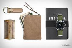 Wilson and Willy's Keychain ($12). Tanner Goods Sketchbook ($16). Makr Zip Slim Wallet ($110). 1968 Omega Seamaster ($3,380). Striking Viking Beard Comb ($16)....