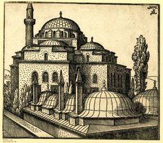 İstanbul-Atik Ali Paşa Mosque-1576 print by Melchior Lorck