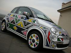 Fiat 500 by Esther Mahlangu South African Design, South African Artists, Xhosa, Tomorrow Is Another Day, Move Mountains, Fiat 500, Cape Town, Street Art, Kitenge