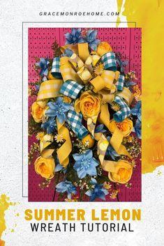 Summer Lemon Wreath Tutorial #wreath #tutorial #homedecor #wreathmaking #wreathideas How To Make Wreaths, How To Make Bows, Bow Making Tutorials, Lemon Wreath, Wreath Tutorial, Wreath Ideas, Summer Wreath, Ribbon Bows, Artificial Flowers
