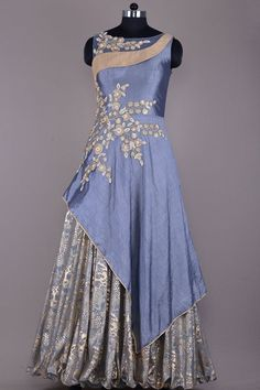 Stone Grey Zari Embroidered Raw Silk Evening Gown-VF2636
