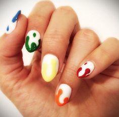 #ovalnails white & color tips