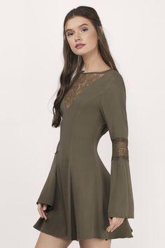 Short Dresses, Tobi, Olive Flirt Around Lace Skater Dress