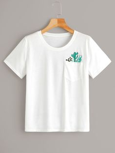 To find out about the Plus Cactus Embroidery Pocket Short Sleeve Tee at SHEIN, part of our latest Plus Size T-shirts ready to shop online today!