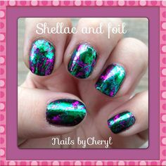 Shellac nails with foil art