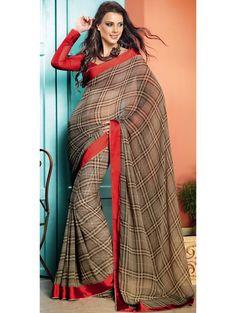 Checks Print Dark Beige Saree  Item code : SVP8333   http://www.bharatplaza.in/new-arrivals/sarees/checks-print-dark-beige-saree-svp8333.html  https://twitter.com/bharatplaza_in  https://www.facebook.com/bharatplazaindianbridal