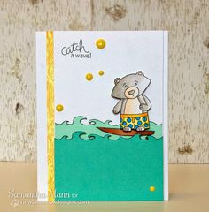 Surfing bear (Winston) card by Samantha Mann for Newton's Nook Designs | Beach Party Stamp Set