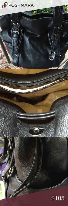 "MICHAEL KORS LEATHER HANDBAG! Looks brand new. Black leather. Three separate compartments. AUTHENTIC!  No wear inside or out. Just a little too heavy for me. 16"" x 13"" x 4+. This was $300* new. I would give this 9 3/4 out of 10. 4 inside slip pockets m. I back wall zip pocket. Pocket on either side outside. Key fob inside. Smoke free home. Michael Kors Bags Totes"