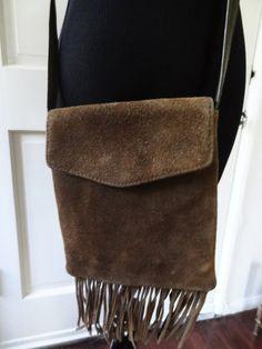 Mini Olive Suede Fringe Shoulder Bag on Etsy $20.00