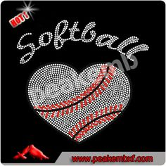 Softball Iron On Bling Transfers Sports Rhinestone Wholesale For T Shirts