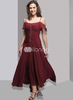 Burgundy Off-The-Shoulder Satin And Chiffon Mother Of Bride And Groom Dress $75.99 plus custom sizing plus postage