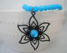 Blue Beaded Flower Necklace by PrettyNCrafts on Etsy, $15.50