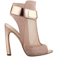 GUESS Anavey Peep-Toe Mesh Booties ($90) ❤ liked on Polyvore featuring shoes, boots, ankle booties, heels, sapatos, ankle boots, light pink suede, guess booties, high heel bootie and high heel booties