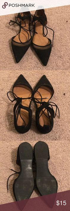 Black lace up flats Black pointed heel shoes. Lace up strings around ankle with eyelets. Worn maybe 2 times, too small for me Zara Shoes Flats & Loafers