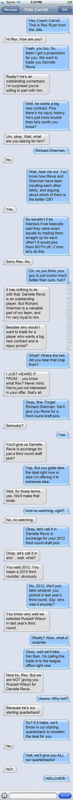 Intercepted Text: The Jets Want To Trade Darrelle Revis - ProFootballMock.com