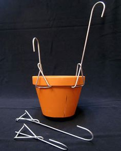 Hanger, Single Mini discount of when you buy 10 or more same size on all hangers Fence Hanging Planters, Hanging Herbs, Hanging Flower Pots, Diy Planters, Wall Plant Hanger, Pot Hanger, Garden Wall Designs, Home Garden Design, Flower Pot Tower