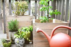 Creating Our Tidy Urban Deck Garden » Curbly | DIY Design Community  I'd put these on wheels!