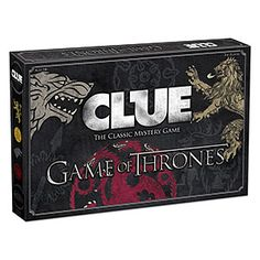 CLUE: Game of Thrones Board Game. Game of Thrones Gifts For Her. Game of Thrones Gifts For your girlfriend. Game of Thrones Gift Ideas. Game of Thrones Gift Guide. Game Of Thrones Gifts, Game Of Thrones Party, Hbo Game Of Thrones, Clue Board Game, Board Games, Game Boards, Cluedo, Clue Games, Game Of Thrones Merchandise