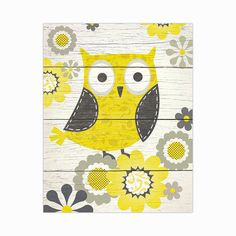 Etsy の Yellow and Gray Patterned Owl Art Print by pictorialboom