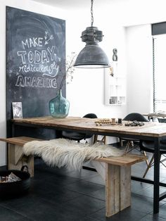 Untreated wood bench in an industrial dining room