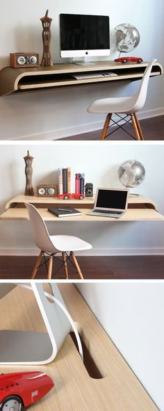 Love this Minimal Float Wall Desk. Perfect for a tight urban living space. Love this Minimal Float Wall Desk. Space Furniture, Furniture For Small Spaces, Home Furniture, Furniture Design, Office Furniture, Furniture Ideas, Furniture Showroom, Urban Furniture, Steel Furniture
