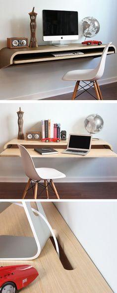 Minimal Floating Wall Desk | furniture design