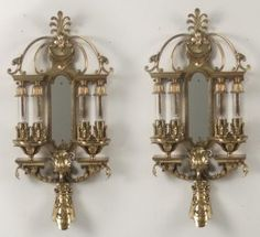 PAIR OF AMERICAN POLISHED BRASS SCONCES