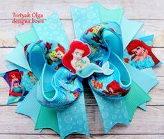 Ariel hair bow - Little Mermaid Hair bows- Disney Vacation Bow - Princess Hair Bow - Ariel Princess Boutique Bow - Princess Birthday Party by TretyakOlgaBows on Etsy