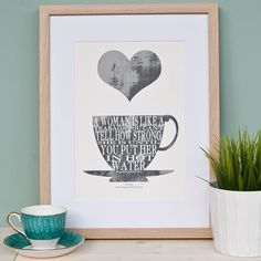 personalised teacup quote print by clothkat | notonthehighstreet.com Also available in a lovely rich blue colour!