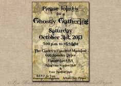 halloween ghost invitation handmade digital by LisaMariesPaperie, $14.00