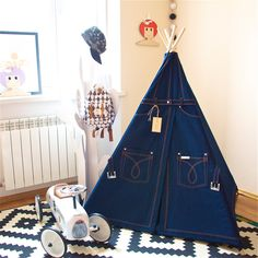 Denim teepee for kids, indoors outdoors playtent, wigwam, tipi, tepee, play tent, playhouse, indian teepee by Happy Teepee, MyHappyTeepee by MyHappyTeepee on Etsy