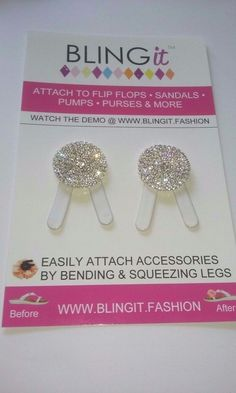 Rhinestone Pave Round Shoe Clips Charms1Pr Bridal Party heels flip flops jewelry