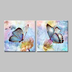 arte Butterfly-blue-and-pink-yellow-art-print-of-the-canvas-decorative-painting-pictures-of-the. Butterfly Painting, Butterfly Art, Flower Art, Pictures To Paint, Acrylic Art, Beautiful Butterflies, Painting Inspiration, Painting & Drawing, Canvas Art