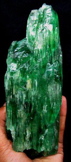 Hiddenite (green Chromium Spodumene ) ..Kunzite is the other famous member of this mineral family.