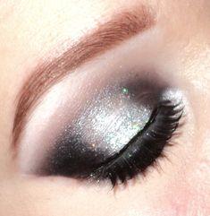 Black and silver glitter smokey eyes