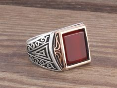 925 Silver Man Ring with Agate Men's Handmade Gemstone Jewelry Size 9-10-11-12 #IstanbulJewellery #Statement
