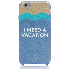 Kate Spade I Need A Vacation Glitter Iphone 6 Case (160 RON) ❤ liked on Polyvore featuring accessories, tech accessories, phone cases, electronics, phone, fillers and kate spade