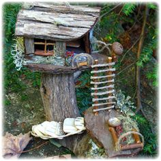 Gnome/Fairy tree house - every time I look, a see some other piece of nature re-purposed by the fairies. ;)