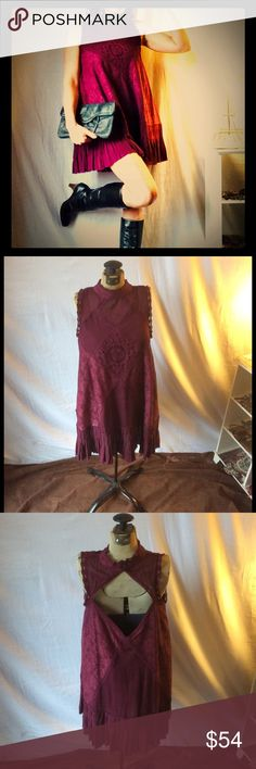 Free People Magenta Lace Dress XS Free People Magenta Lace Dress XS beautiful Lace detail, cutout back, high neck. Worn once. Free People Dresses Mini