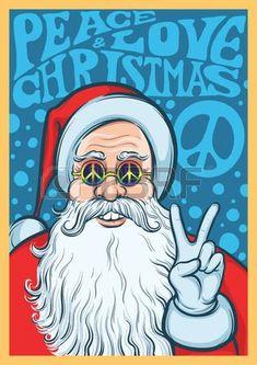 Peace, Love Christmas with Santa Vintage Christmas Cards, Retro Christmas, Christmas Love, Christmas Images, Christmas Deco, Holiday Fun, Christmas Bunny, Christmas Things, Father Christmas
