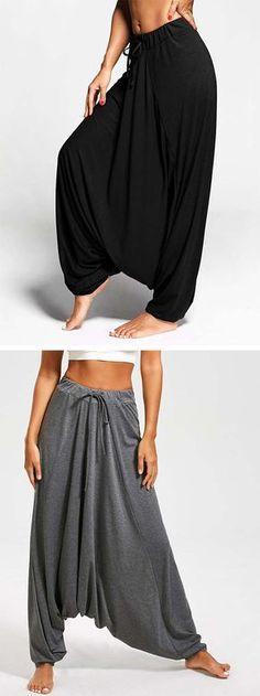 pants outfit:Drop Bottom Harem Pants with Drawstring