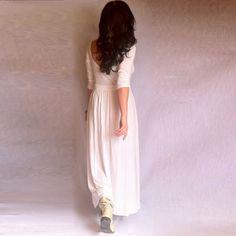 White Dress A Line Cutout Back Cotton Elastane by BoutiqueAlaMode, $62.00
