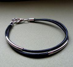 Men's Leather Cord Bracelet. Elegant Silver Tube Adjustable Bracelet. Gift for Him. Brown / Black Bracelet