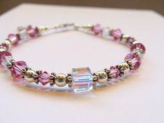 Swarovski Crystal and Sterling Silver bracelet by KandEBeads, $35.00