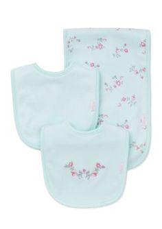 Little Me  3-Piece Floral Bib and Burp Cloth Set
